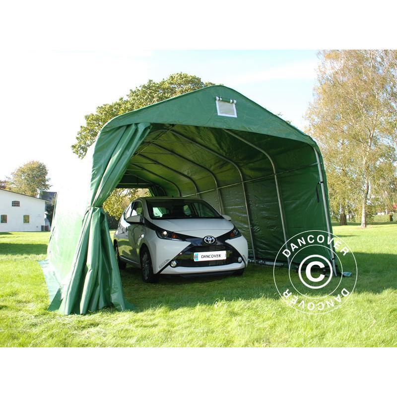 DANCOVER Tente Abri Voiture Garage PRO 3,6x7,2x2,68m PVC, Vert - DANCOVER