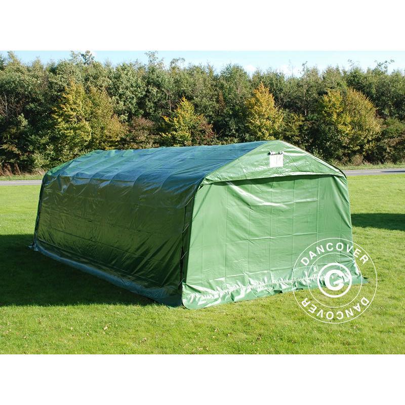 DANCOVER Tente Abri Voiture Garage PRO 3,6x8,4x2,68m PVC, Vert - DANCOVER