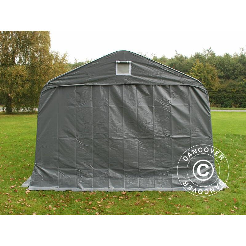 DANCOVER Tente abri Voiture garage PRO 3,6x8,4x2,7m PVC avec couvre-sol, Gris