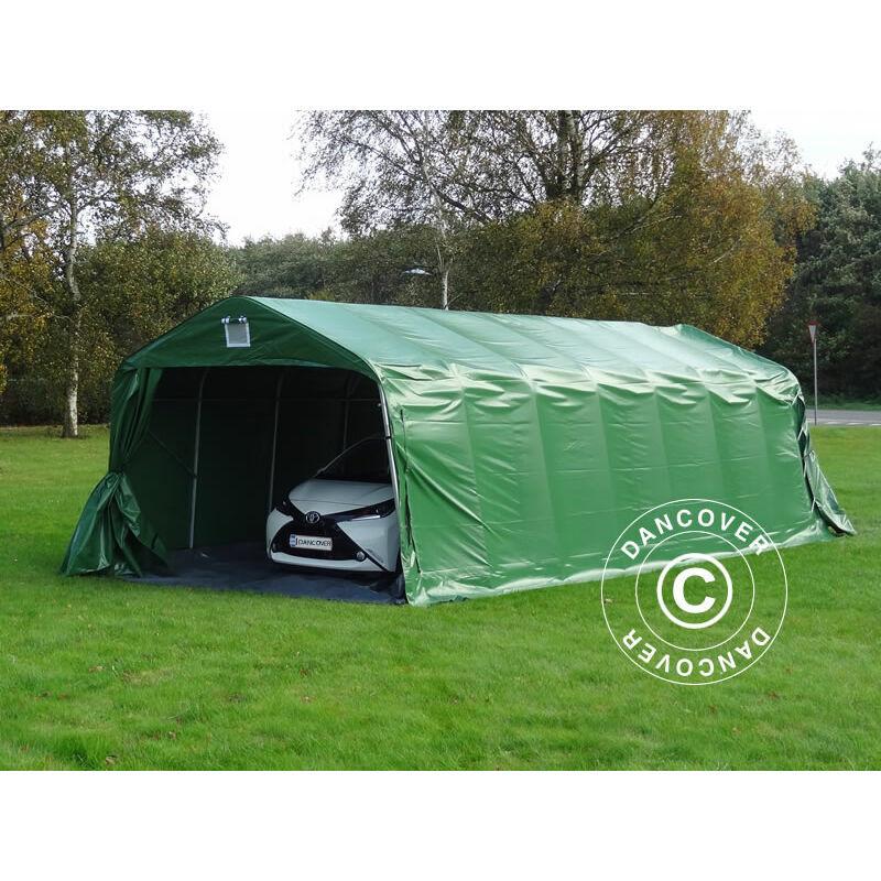 DANCOVER Tente abri Voiture garage PRO 3,6x8,4x2,7m PVC avec couvre-sol, Vert