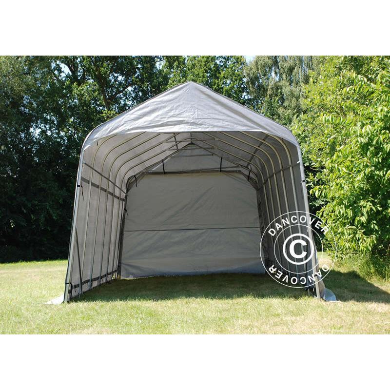 DANCOVER Tente Abri Voiture Garage PRO 3,77x7,3x3,18m PVC, Gris - DANCOVER