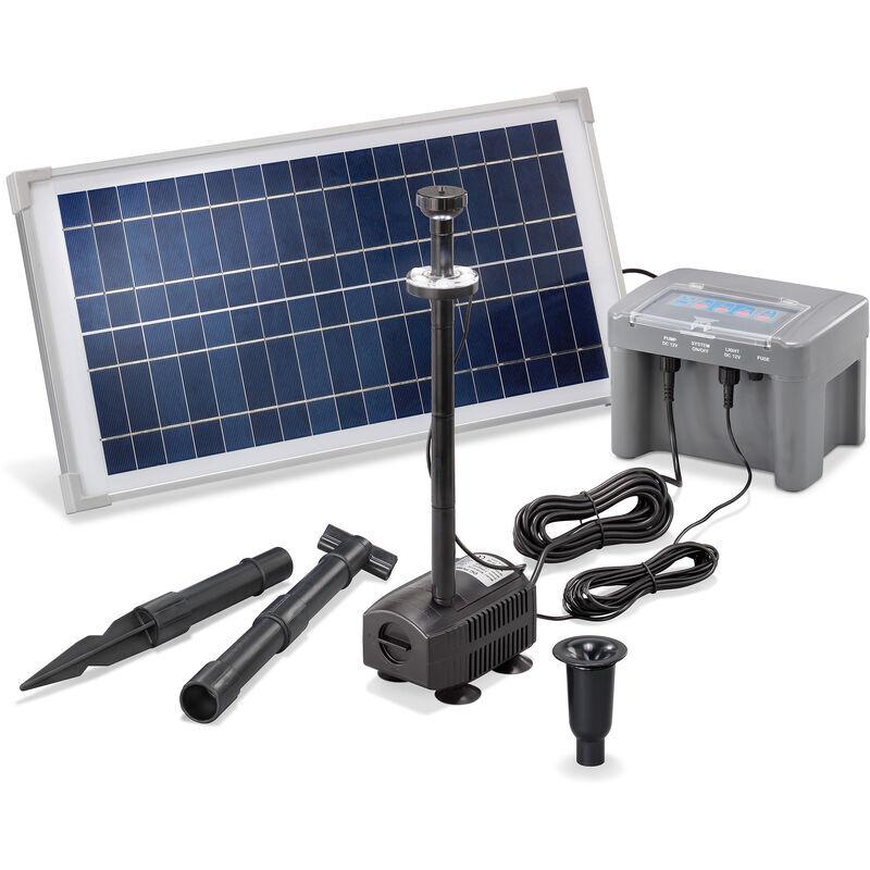 Esotec - Pompe solaire bassin 15W 500l / h batterie + LED bassin pompe