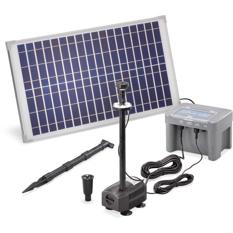 Esotec - Pompe solaire de bassin 25W 630l / h batterie + LED pompe