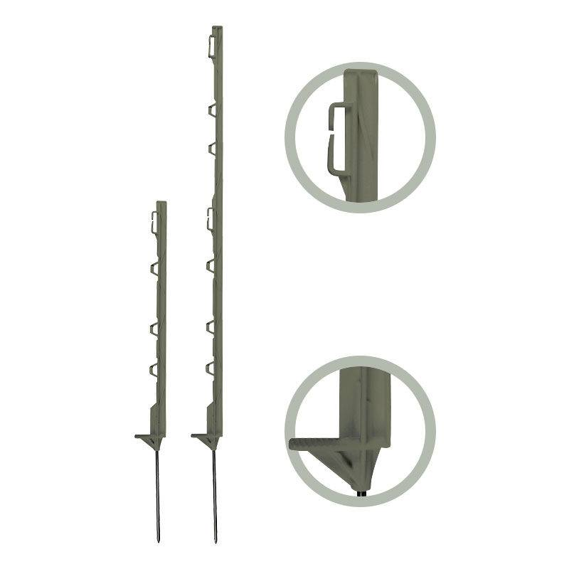 Beaumont - 10 piquets plastique 4 isolateurs 0,55 m