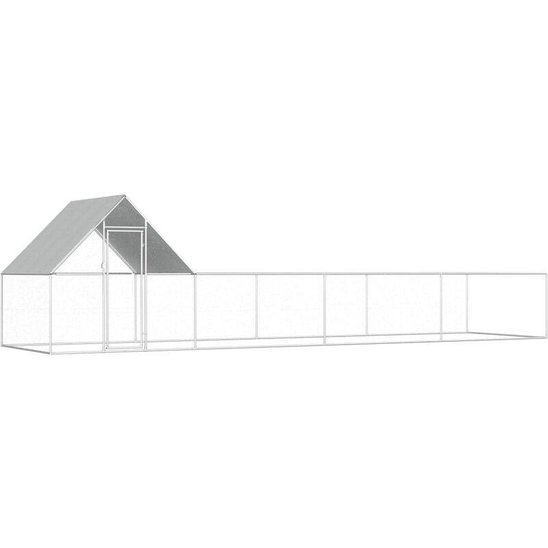 VIDAXL Poulailler 8 x 2 x 2 m Acier galvanisé