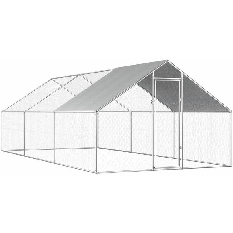 ASUPERMALL Poulailler d'exterieur 2,75 x 6 x 2 m Acier galvanise