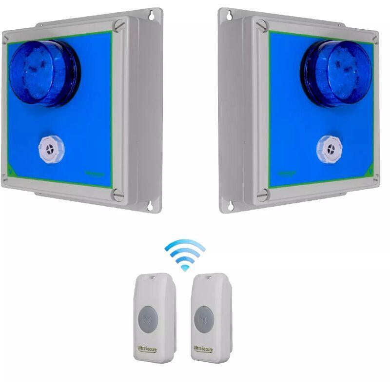 ULTRA SECURE Double sonnette sans-fil 800m longue distance - 2 boutons autonome IP56