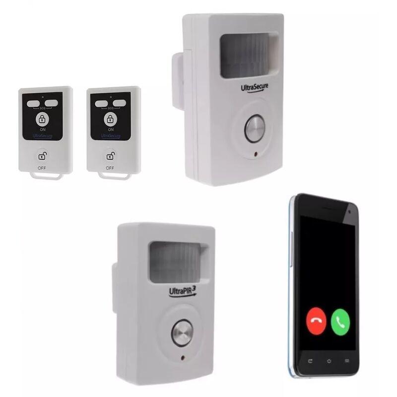 ULTRA SECURE Kit 2 zones alarme GSM 3G sans-fil autonome - 2 détecteurs mouvement +