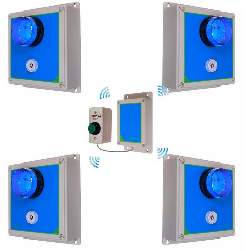 ULTRA SECURE Kit 4 alertes sans-fil - sonnette haute-résistance flash sirène