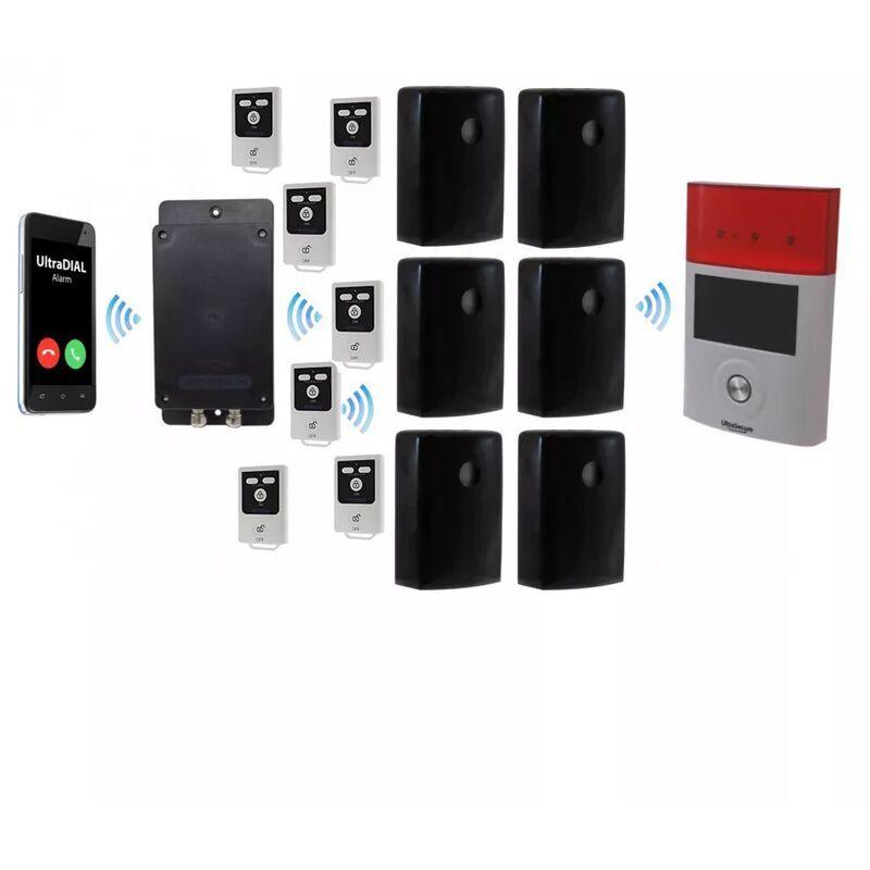 ULTRA SECURE Kit extérieur 100% sans-fil autonome 6 détections mouvement + sirènes