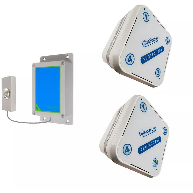 ULTRA SECURE Kit sonnette extérieure sans-fil 800 mètres - bouton brossé autonome &