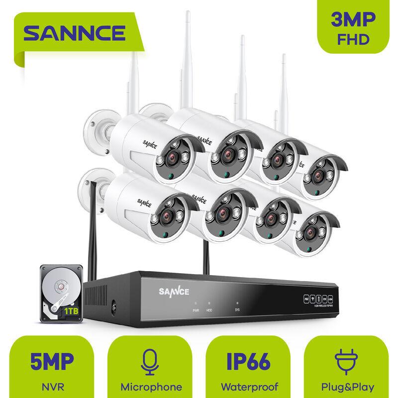 SANNCE Système de caméra de sécurité sans fil WiFi 1080P avec 8 caméras