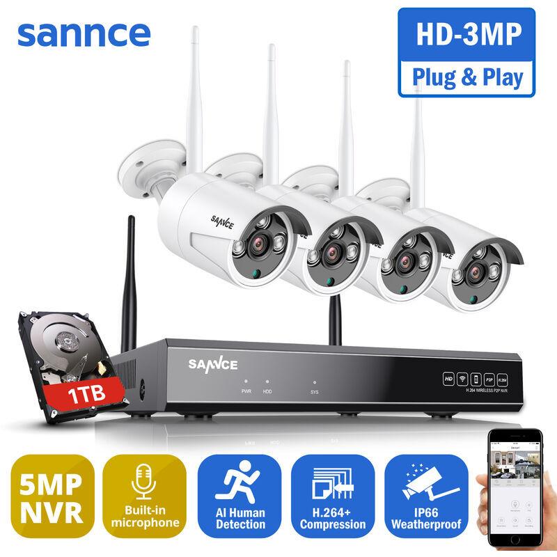 SANNCE Système de caméra de sécurité sans fil WiFi 1080P avec 4 caméras wifi –