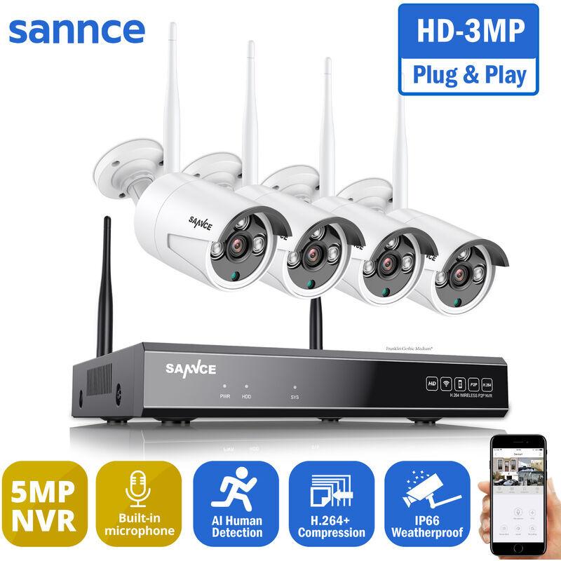 SANNCE Système de caméra de sécurité sans fil WiFi 1080P avec 4 caméras