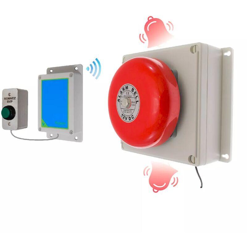 ULTRA SECURE Sonnette cloche industrielle sans-fil 800 mètres longue portée - bouton