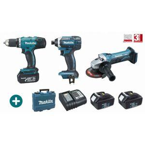 MAKITA Lot 3 machines MAKITA 18V 3 Batteries 3Ah + Chargeur + Perceuse - Publicité