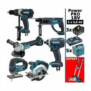 MAKITA Pack Makita Power PRO 6 outils 18V: Perceuse DDF458 + Perfo DHR202 + - Publicité