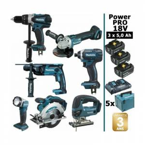 MAKITA Pack Makita Power PRO 7 outils 18V: Perceuse DDF458 + Perfo DHR202 + - Publicité