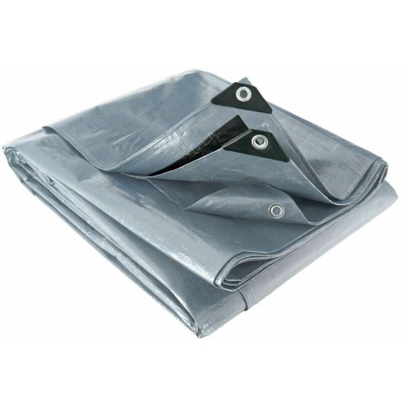 WERKAPRO Bâche multifonctions grise et noire 200 g/m2 3,8 x 4,8 m - Werkapro