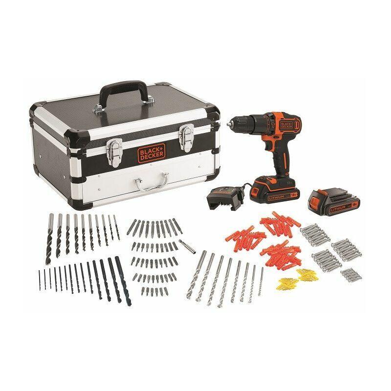 Black & Decker 18V Perceuse à percussion avec 200-pce. accessoires