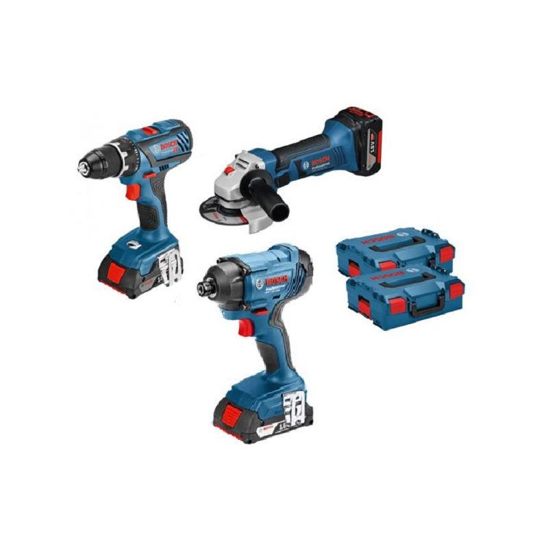 BOSCH Kit 3 outils 18V Perceuse + Visseuse + Meuleuse - KIT3OUT18V2