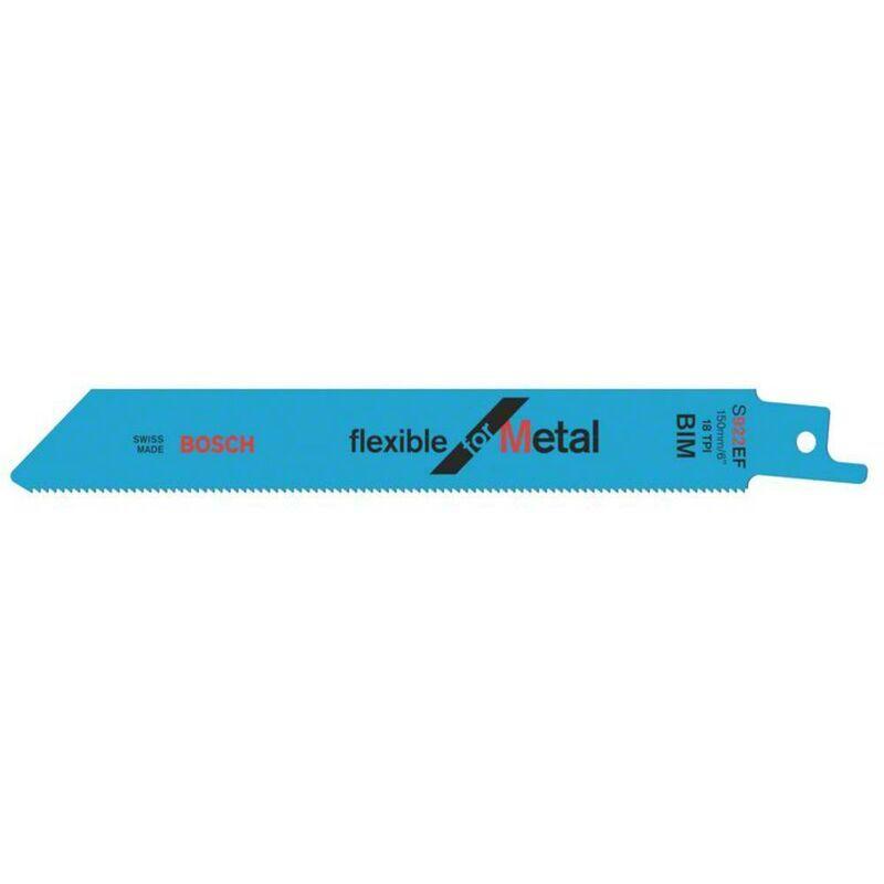 BOSCH ACCESSORIES Lame de scie sauteuse S 922 EF, Flexible for Metal, lot de 5 2608656015