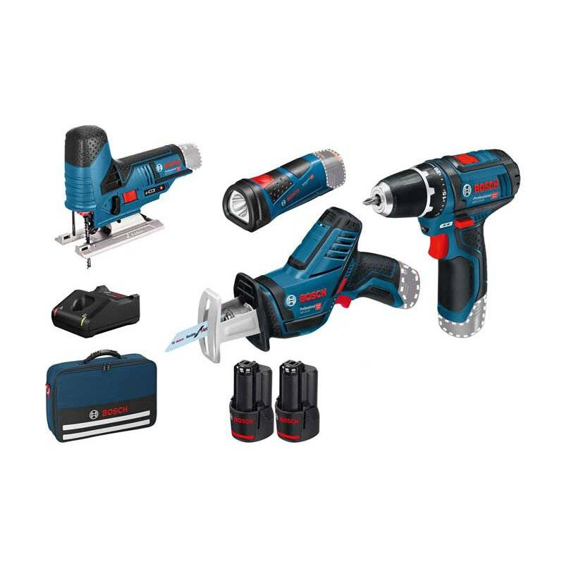 Bosch Professional Set de 4 outils - 12V: GSR + GSA + GST ??+ GLI + 2 x