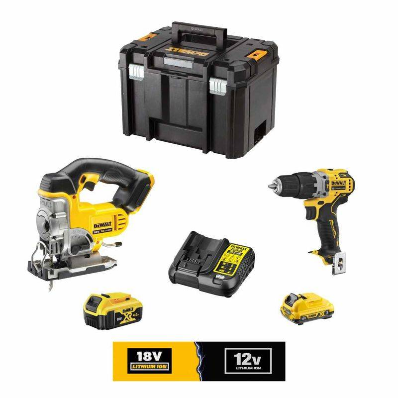 DeWALT Kit 12V/18V DCK3101L1M1TA (DCS331 DCD701 1 x DCB182 18V 4,0 Ah 1