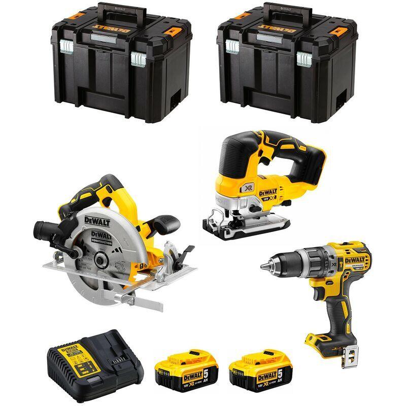 DeWALT Kit DWK301 (DCD796 DCS334 DCS570 2 x 5,0 Ah DCB115 2 x TSTAK VI)
