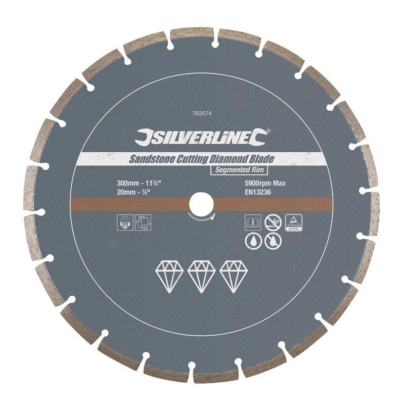Silverline - Disque diamanté à tronçonner le grès - Segmenté 300 x 20 mm