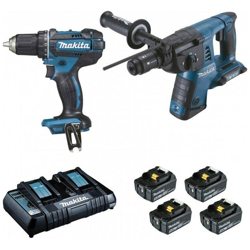 MAKITA Pack 2 Machines Makita 18V 5Ah : Perforateur Burineur Dhr264 + Perceuse