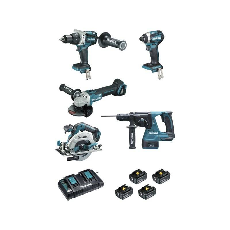 MAKITA Ensemble de 5 machines MAKITA 18V Li-Ion 5.0 Ah - Perfo-burineur +