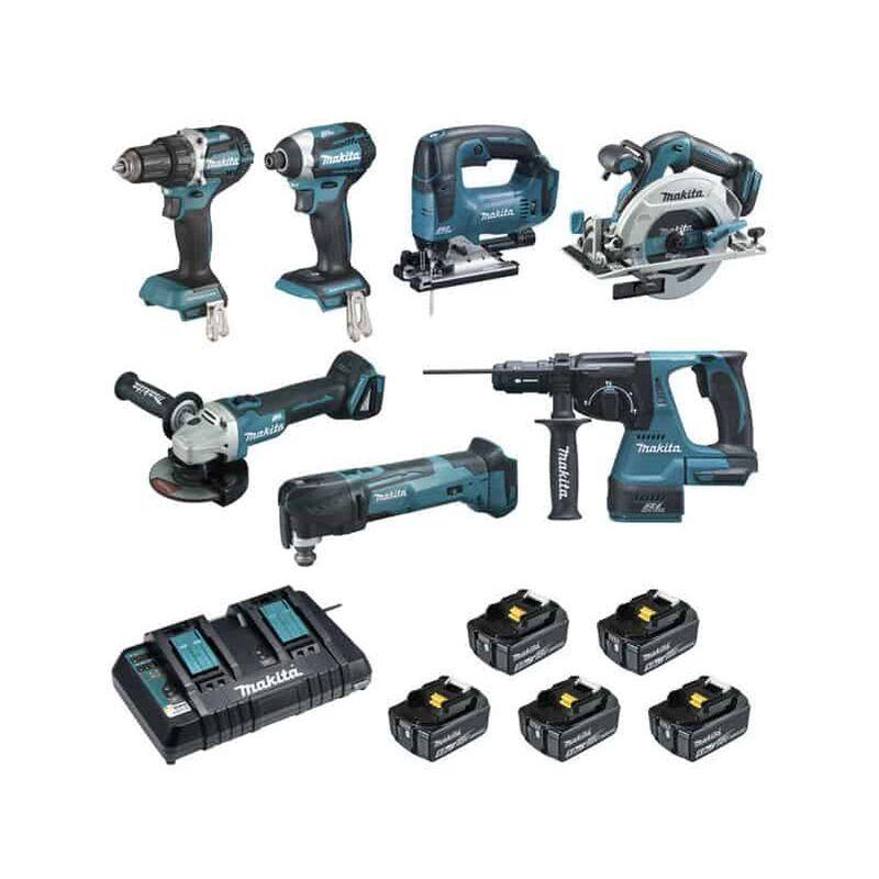 MAKITA Pack 7 outils 18V 5x5Ah - DLX7014PTJ