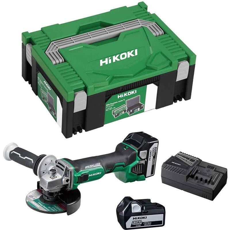 HIKOKI Meuleuse d'angle sans fil - 18 V / 5.000 mAh / 125 mm - HIKOKI