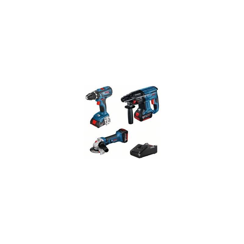 BOSCH Kit 3 outils Perceuse GSR 18V-28 + Meuleuse GWS 18 125 V-LI + Perfo GBH