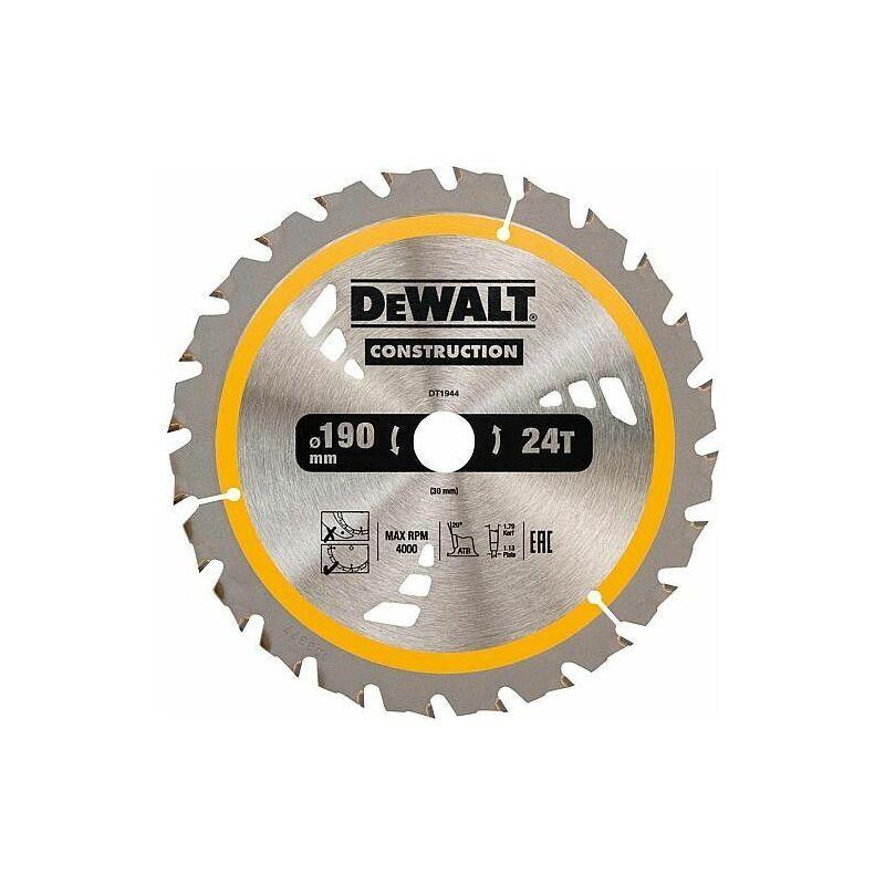 DEWALT Lame de scie circulaire DeWalt Construction, ø 190 x 30 mm