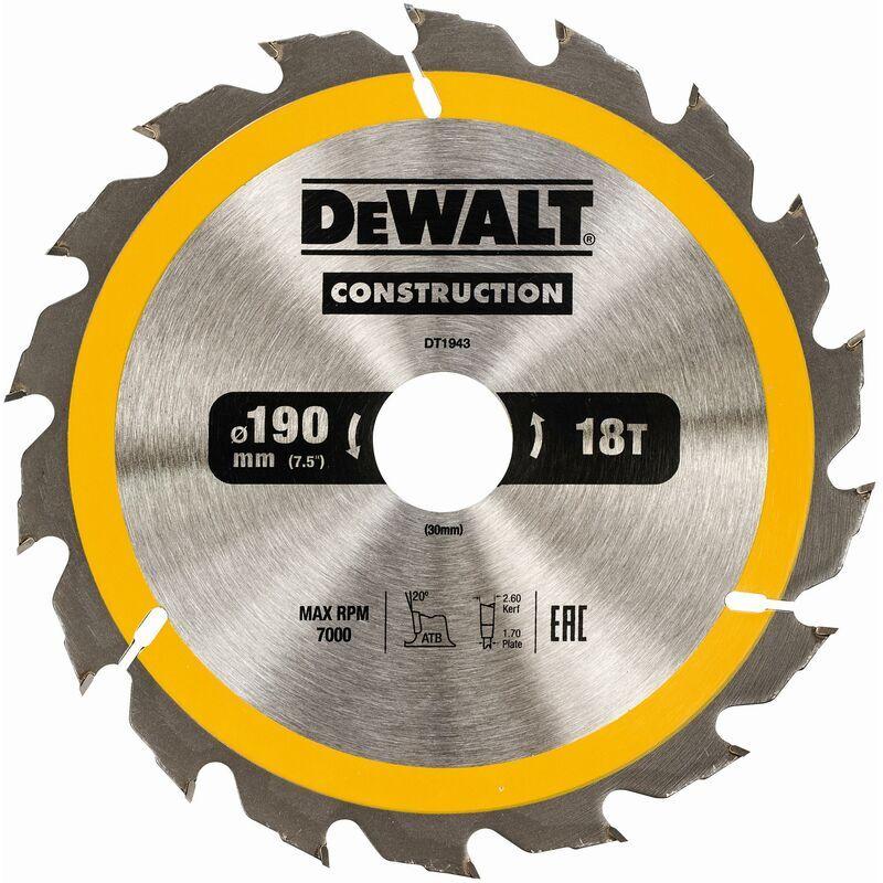 DeWALT Lame de scie circulaire, 190/30 mm, 18 dents - DT1943-QZ