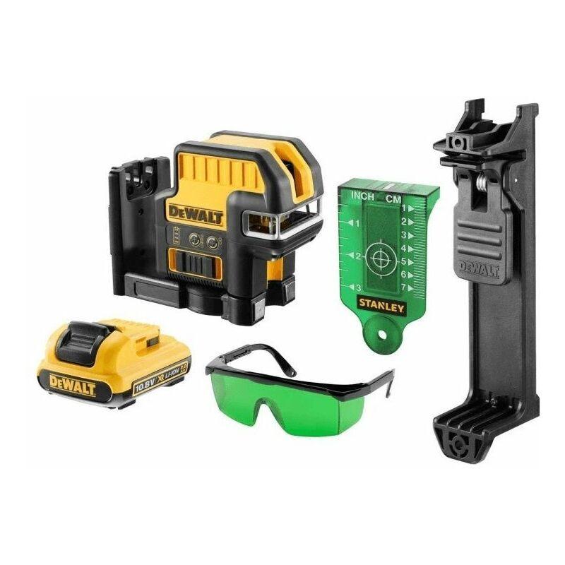 DEWALT DCE0825D1G Niveau laser croix/point auto-nivelant à batteries 10,8V