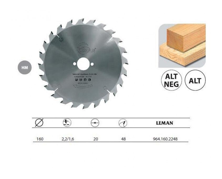 Leman : Lame carbure 170 Z= 48 alésage 16 mm coupe bois
