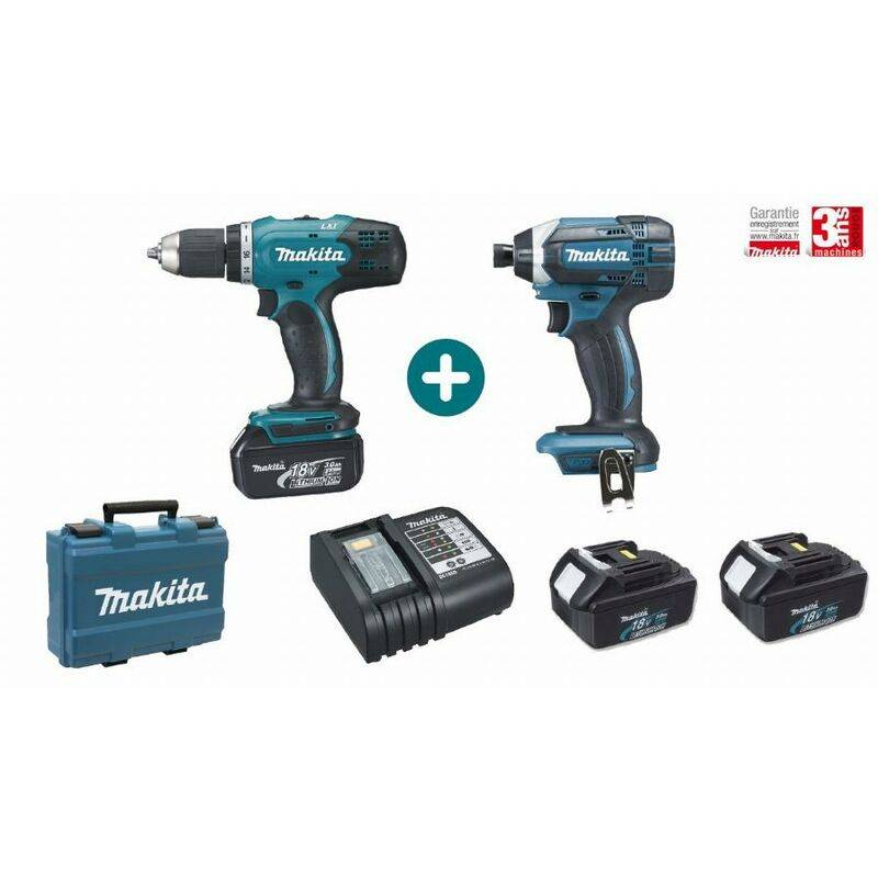 MAKITA Lot 2 machines MAKITA 18V 3 Batteries 3Ah + Chargeur + Perceuse