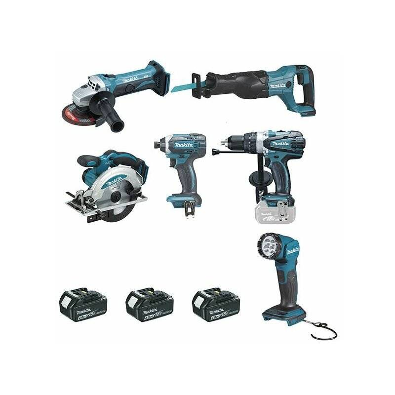 DEWALT Ensemble de 6 machines MAKITA 18 V Li-Ion 4 Ah - DLX6104MX1 - -