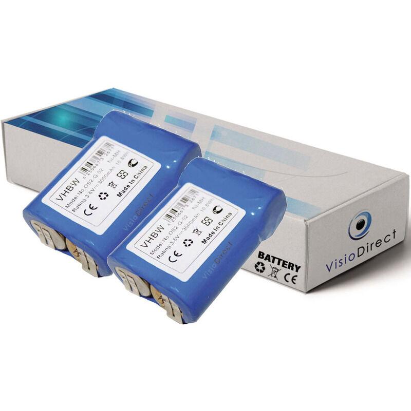 VISIODIRECT Lot de 2 batteries pour AEG Junior 3000 outils sans fil 3000mAh 3.6V