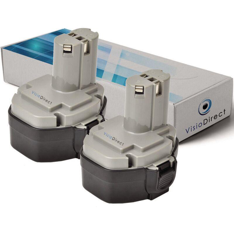 VISIODIRECT Lot de 2 batteries pour MAKITA 8433DWD scie sauteuse 3000mAh 14.4V