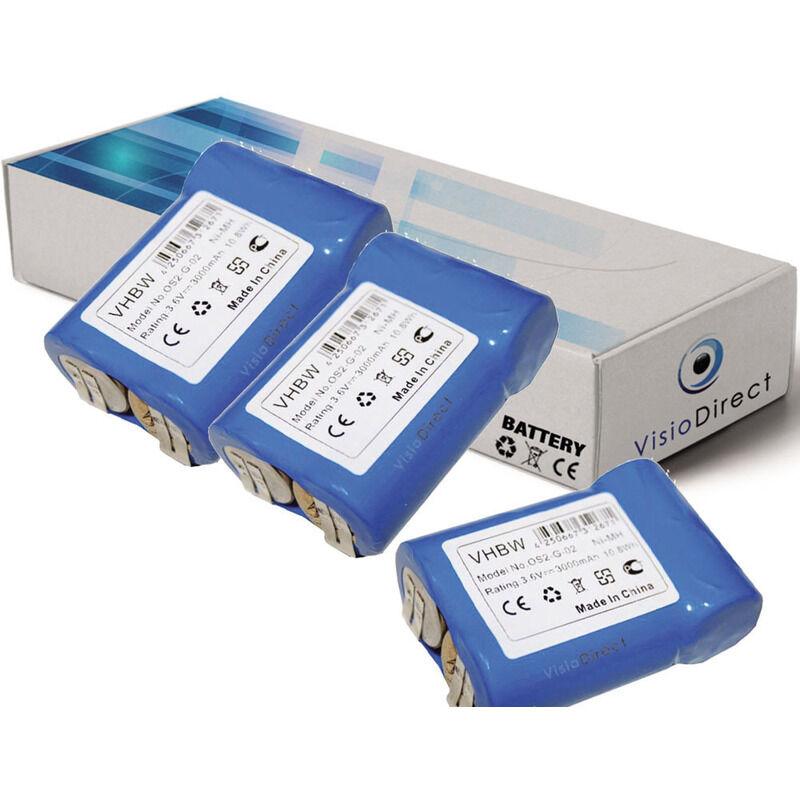 VISIODIRECT Lot de 3 batteries pour AEG Junior 3000 outils sans fil 3000mAh 3.6V