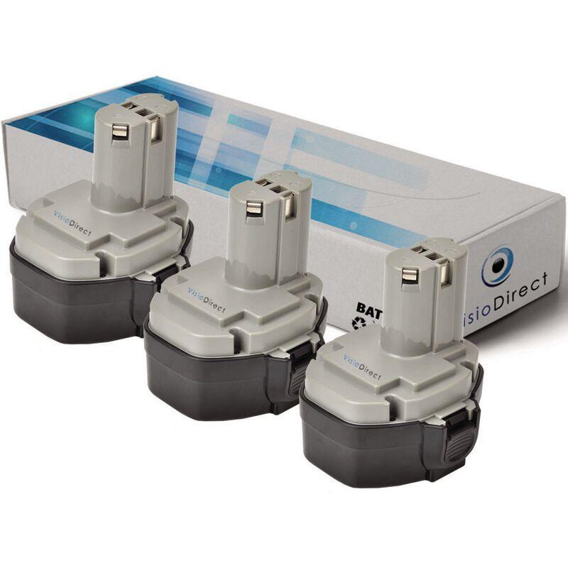 VISIODIRECT Lot de 3 batteries pour MAKITA 4333DWD scie sauteuse 3000mAh 14.4V