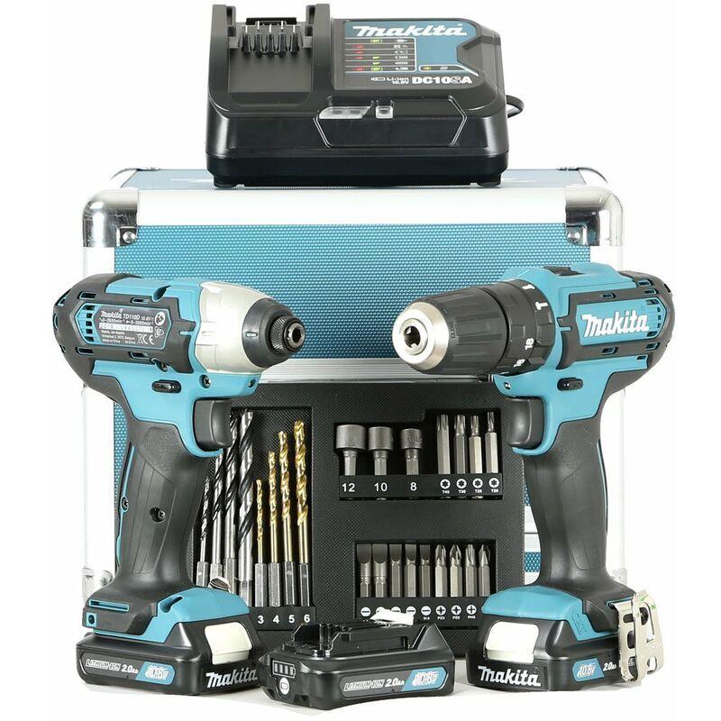 Makita CLX202SAX2 Perceuse Viseuse + Visseuse à choc + 3 Batteries ex