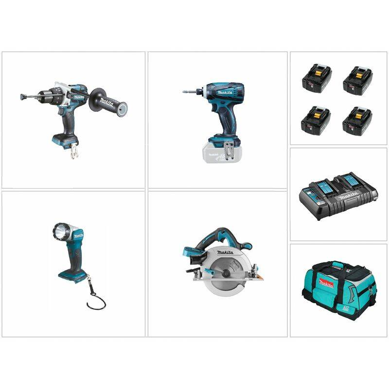 Makita DLX4043PM Ensemble de 4 machines à batteries 18V Li-Ion combiset