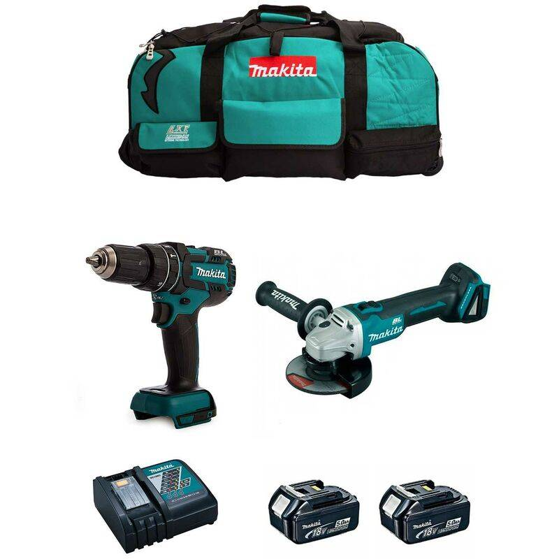 MAKITA Kit 18V MSB2P2A (DGA504 DHP480 2 x 5,0 Ah DC18RC Trolley)