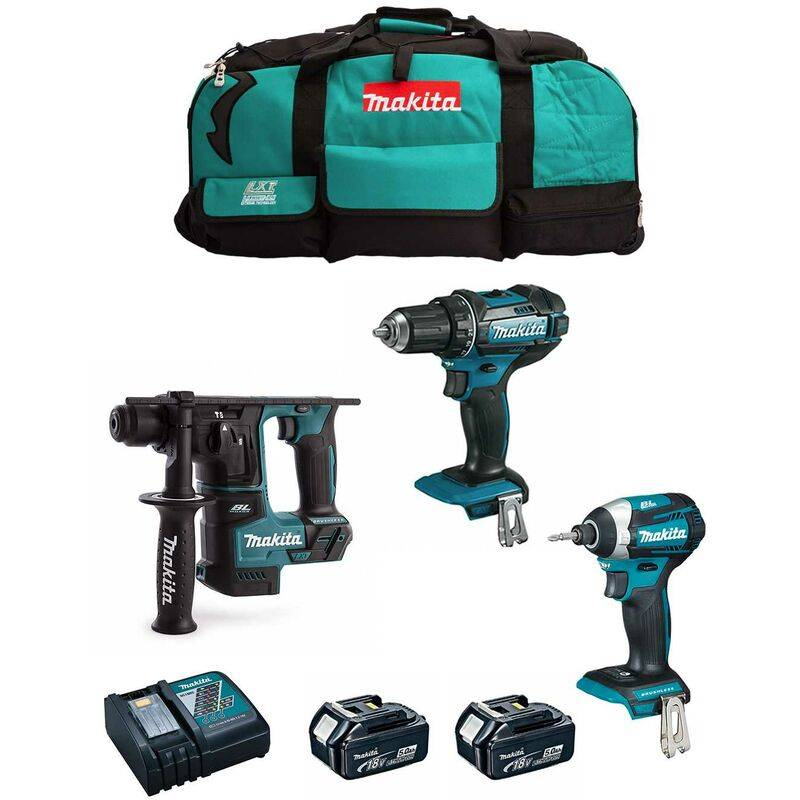 MAKITA Kit 18V MSB3P2 (DHR171 DDF482 DTD154 2 x 5,0 Ah DC18RC Trolley)