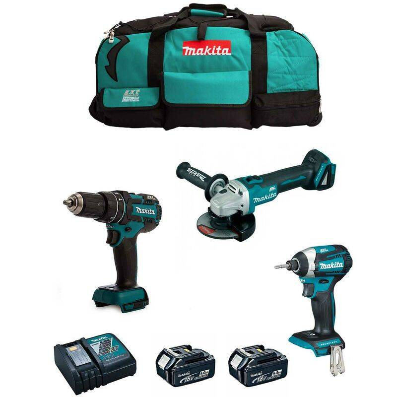 MAKITA Kit 18V MSB3P2A (DGA504 DTD154 DHP480 2 x 5,0 Ah DC18RC Trolley)
